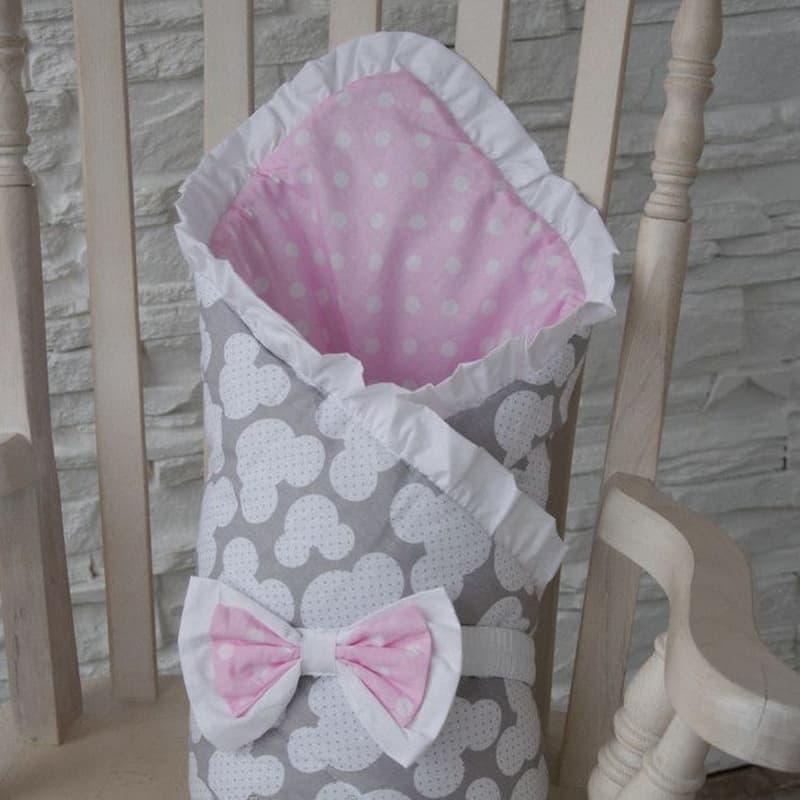 Конверт одеяло на выписку девочке Горошек
