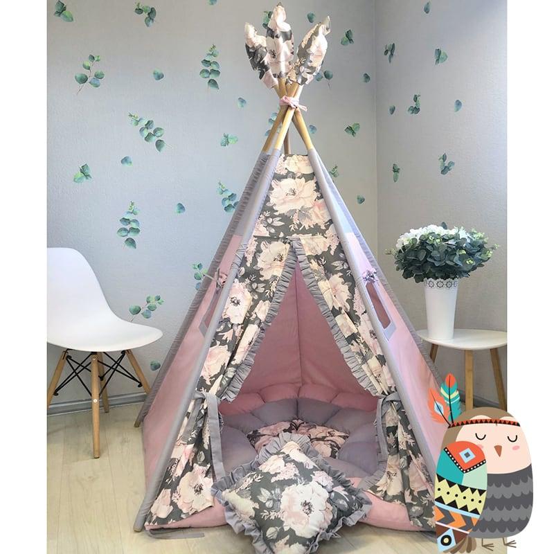 Дитяча палатка вігвам Квітуче Небо. Комплект 5 в 1