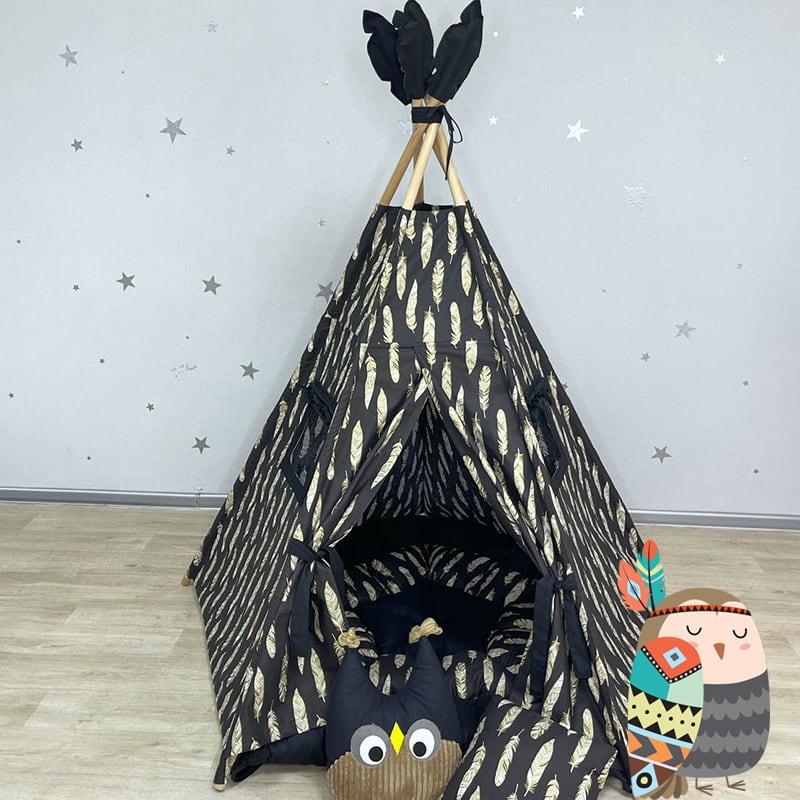 Детская палатка вигвам Украшенный Белым Пером