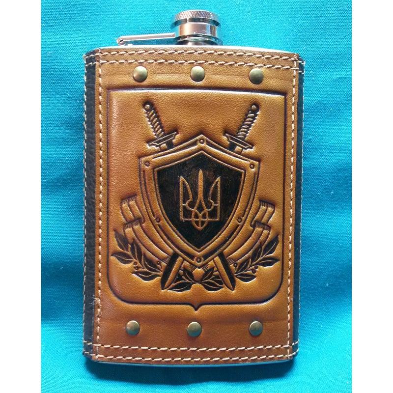 Фляга ручной работы в подарок Патриот brown leather