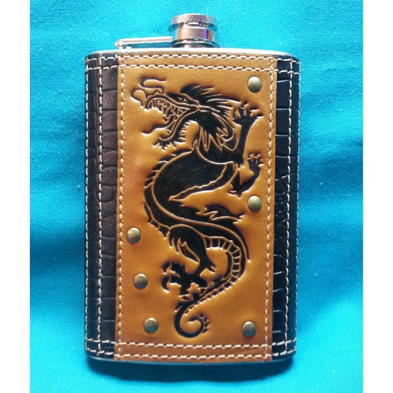 Фляга Handmade с кожаным футляром Пернатый Змей brown leather