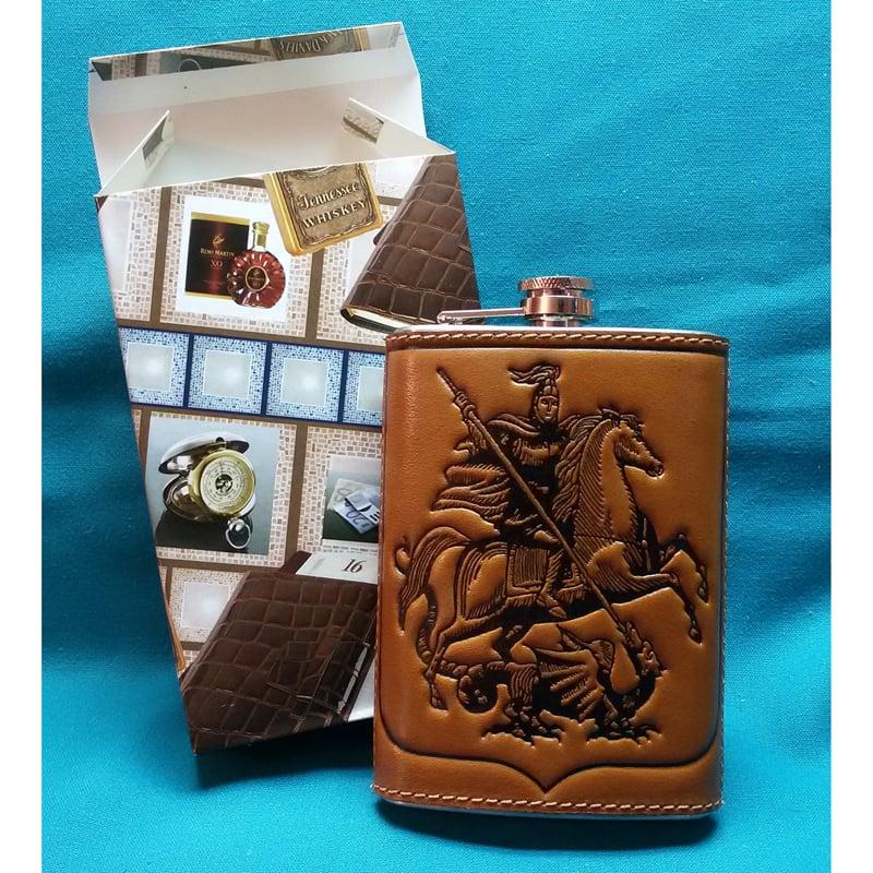 Фляга в подарок с кожаным футляром Георгий Победоносец brown leather