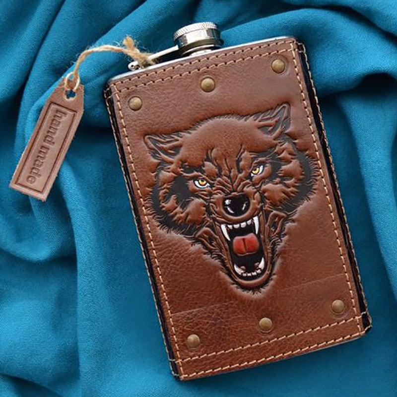 Фляга для алкоголя Celtic Wolf brown leather