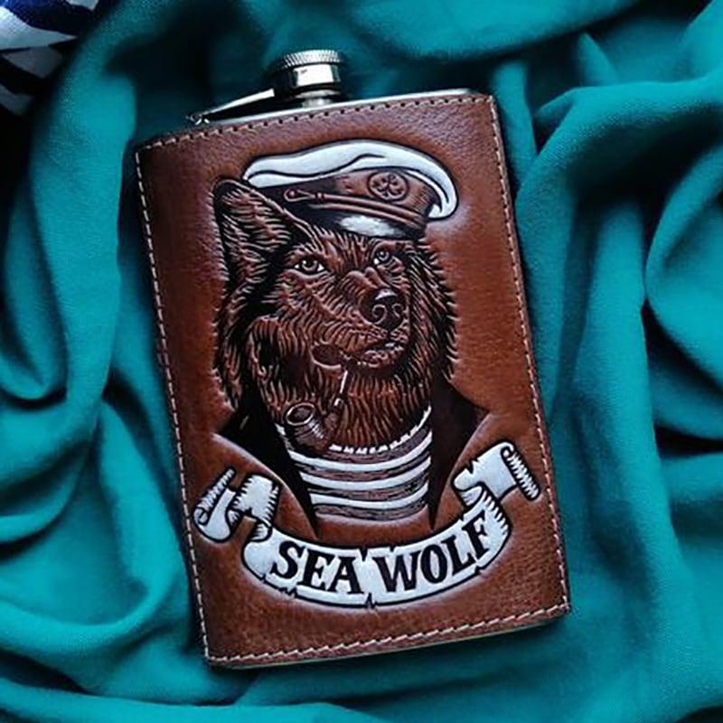 Кожаная фляга Морской Волк brown leather