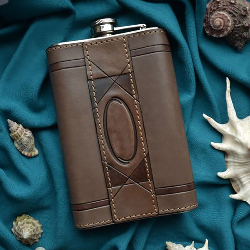 Фляга для алкоголя Одесса brown leather