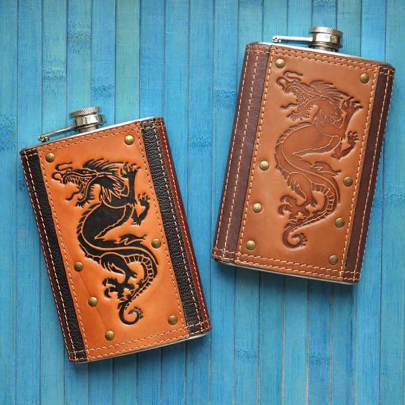 Фляга кожаная Dragon brown leather