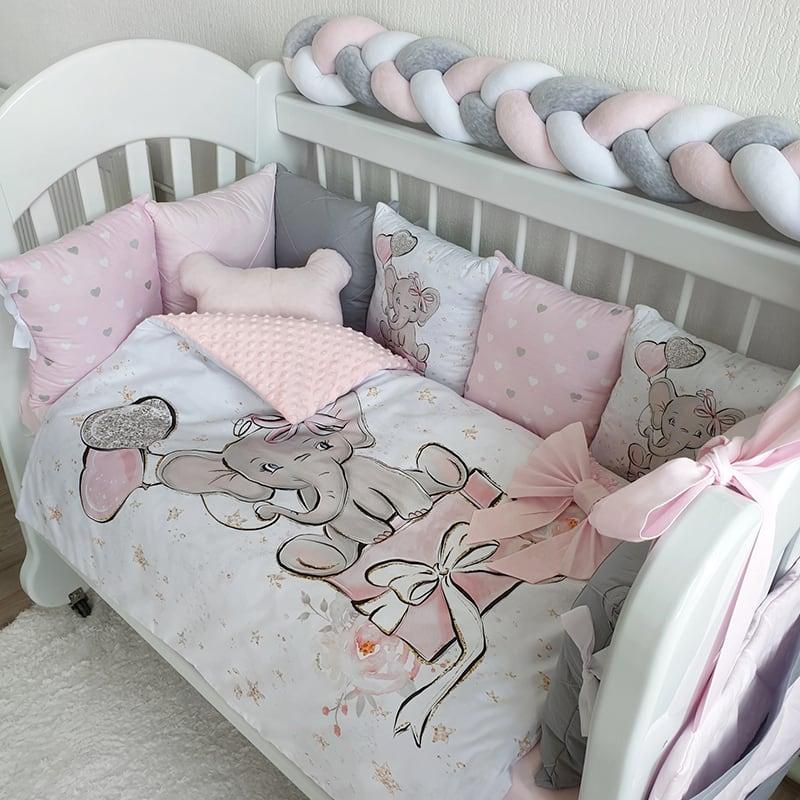 Бортики в ліжечко для дівчинки Слоник Бетсі