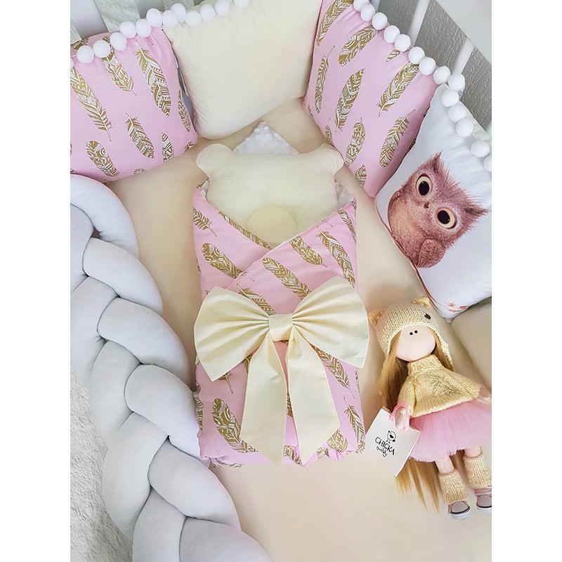 Бортики в кроватку для девочки Сова Золотое Перо