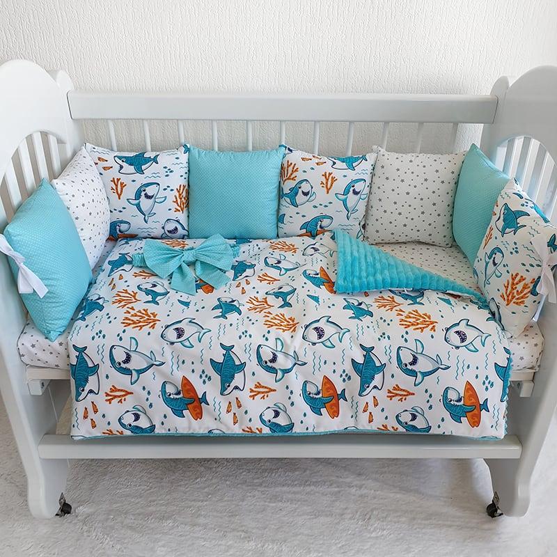 Бортики в кроватку для мальчика Акулий Серфинг