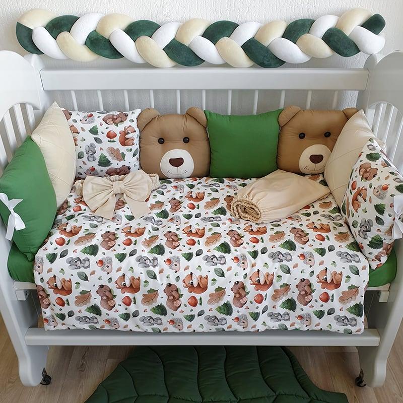 Бортики в кроватку для новорожденных Лесные Зверушки