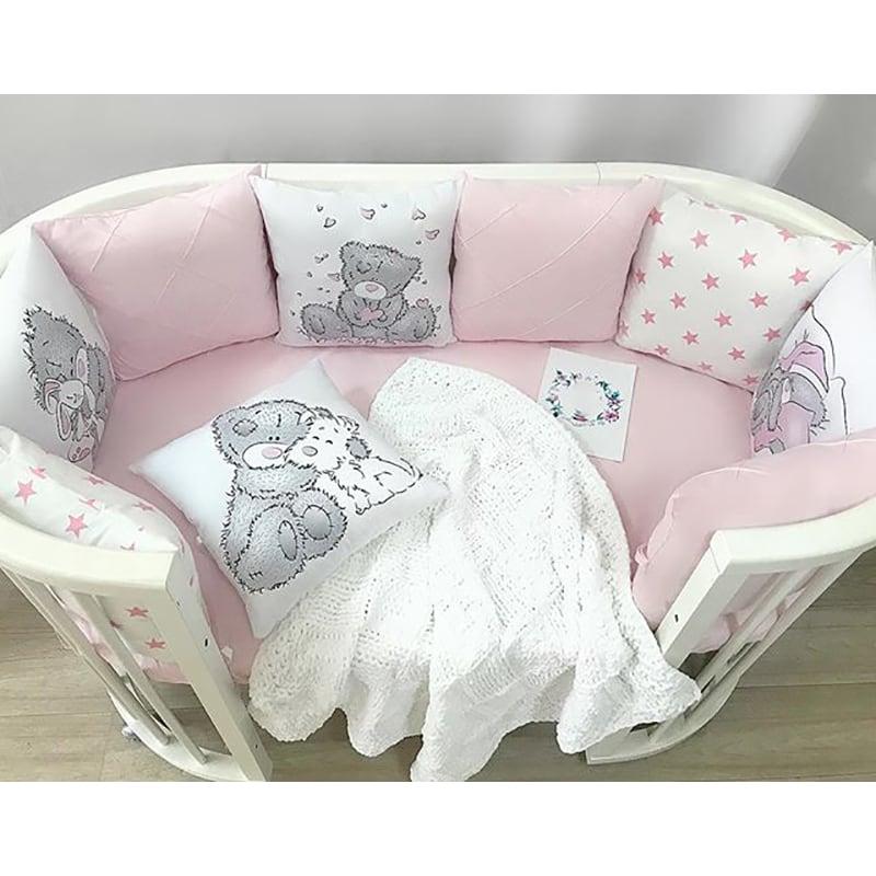 Бортики в кроватку девочке Мишутка Тедди