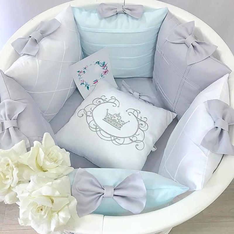Бортики в круглую кроватку мальчику Бисер