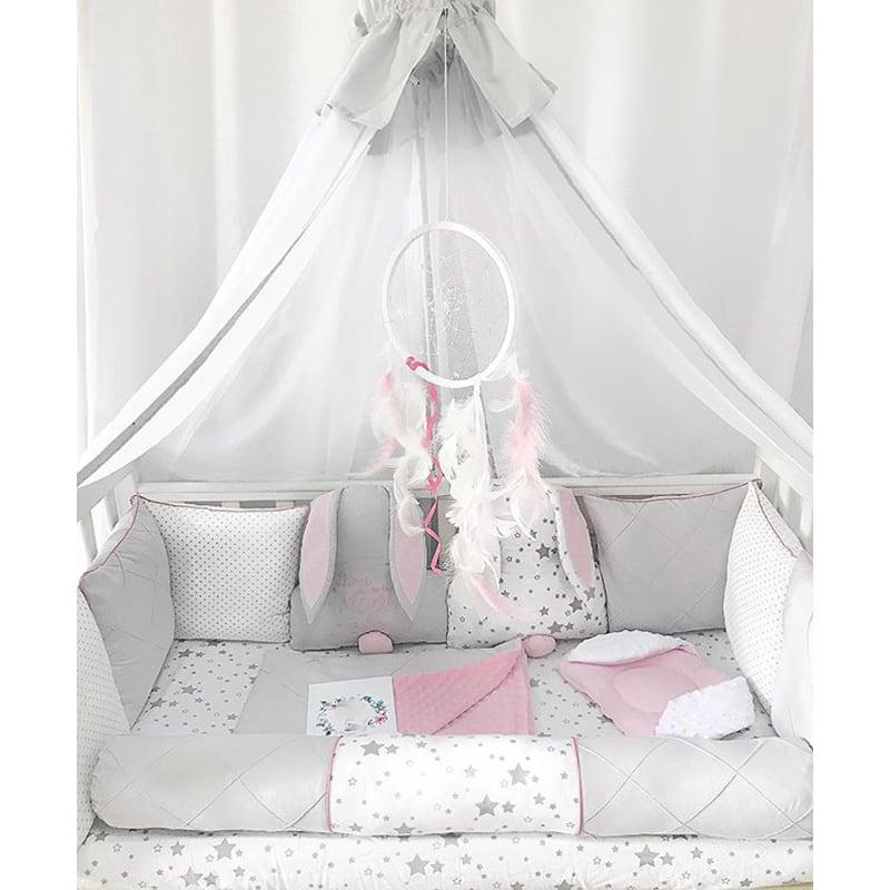 Бамперы подушки в кроватку девочке Зайки