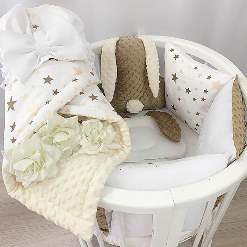 Бортики в круглую кроватку Мой Шоколадный Зайка