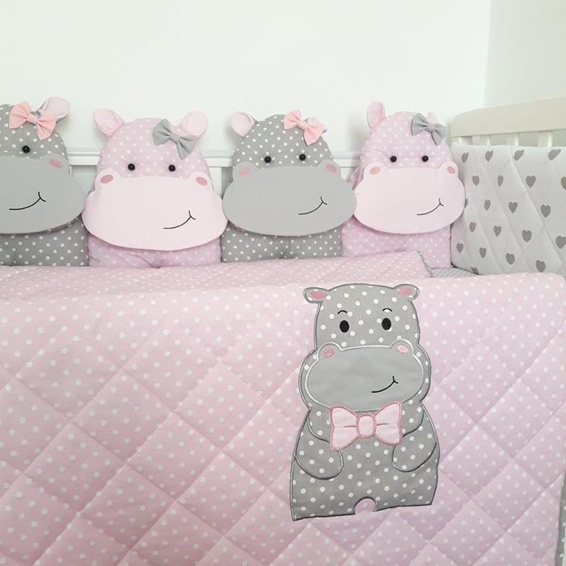 Бортики в ліжечко дівчинці Бегемотики
