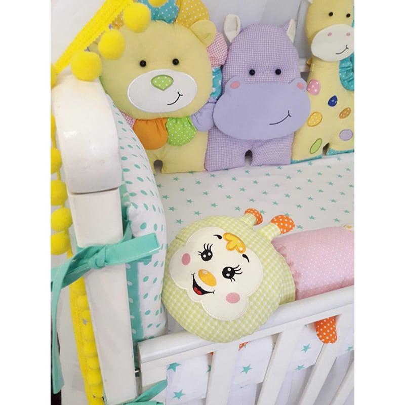 Бамперы подушки в кроватку новорожденным Зоопарк