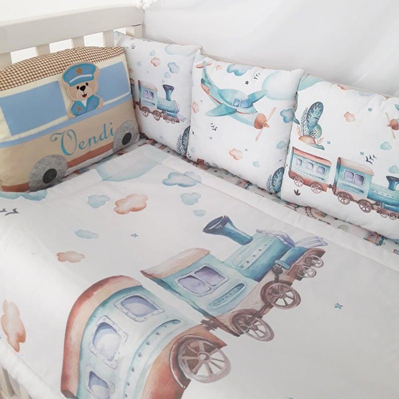 Бортики в кроватку Локомотив