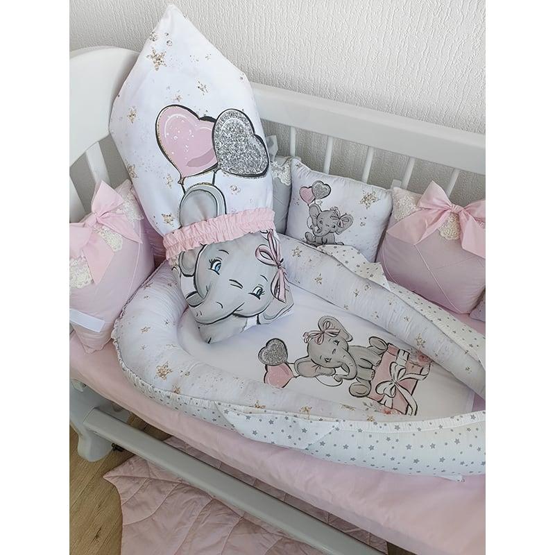Бортики на кроватку девочке Слоник на Подарках