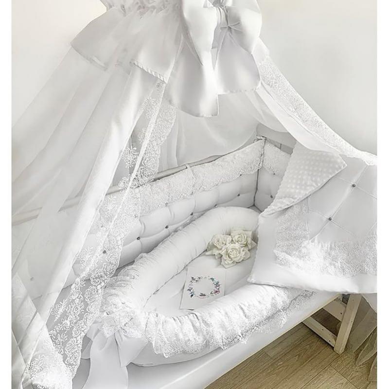 Захисний бортик новонародженим Білі Мереживо