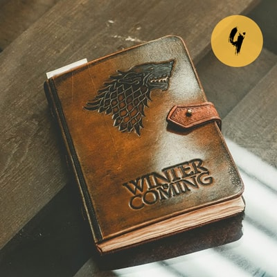 Ежедневник ручной работы А5 Игра престолов Лютоволк (brown)