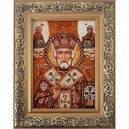 Авторская икона в янтаре в подарок Святой Николай